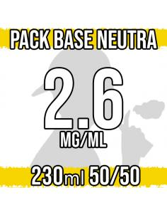 Pack Base Neutra 230ml 50VG/50PG 2.6mg/ml Nicotina