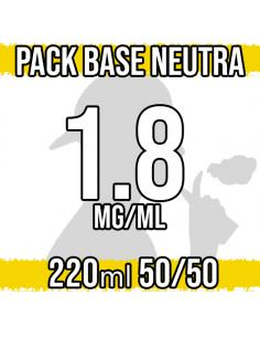 Pack Base Neutra 220ml 50VG/50PG 1.8mg/ml Nicotina
