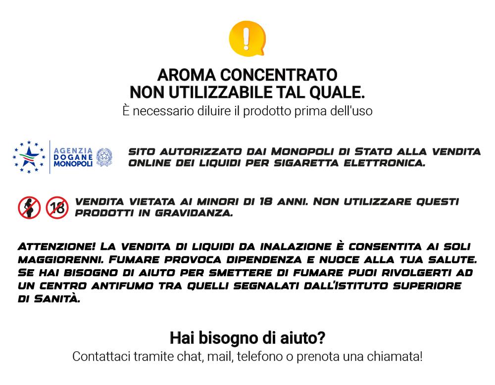 tabella diluizione aromi scomposti 10ml royal blend